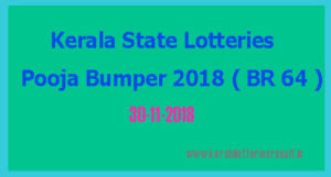 Pooja Bumper 2018 BR 64 Lottery Result 30-11-2018