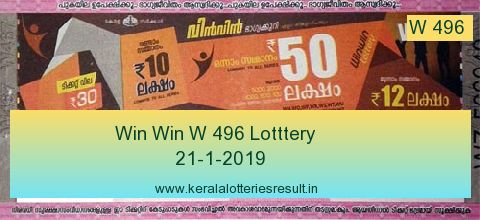 Win Win Lottery W 496 Result 21.1.2019