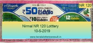 Nirmal Lottery NR 120 Result 10.5.2019