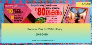 Karunya Plus Lottery KN 270 Result 20.6.2019 - Today Result