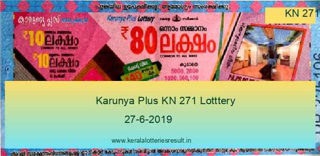 Karunya Plus Lottery KN 271 Result 27.6.2019 - Live Result