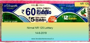 Nirmal Lottery NR 125 Result 14.6.2019