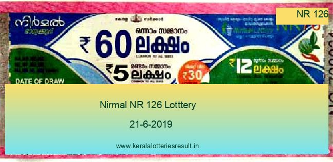 Nirmal Lottery NR 126 Result 21.6.2019