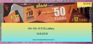 Win Win Lottery W 516 Result 10.6.2019
