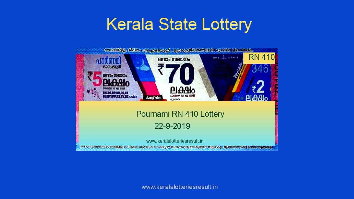 Pournami Lottery RN 410 Result 22.9.2019, Kerala Lottery Result 22.9.19, Pournami Lottery Result
