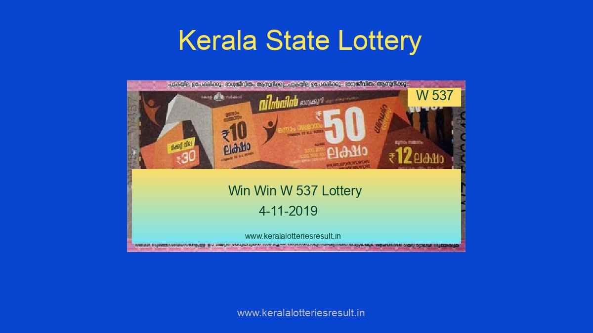 Win Win Lottery W 537 Result 4.11.2019 (Live)