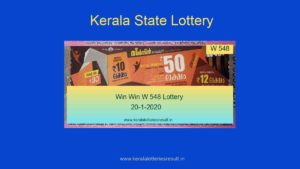 Win Win Lottery W 548 Result 20.1.2020 (Live)