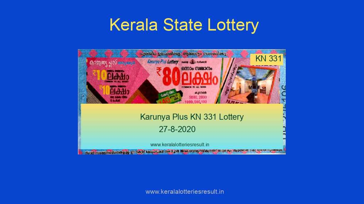 Karunya Plus Lottery KN 331 Result 27.8.2020 Live @ 3PM