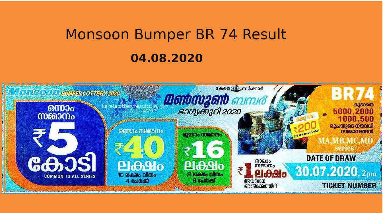 Monsoon Bumper Lottery Result 4.8.2020 - BR 74 Result