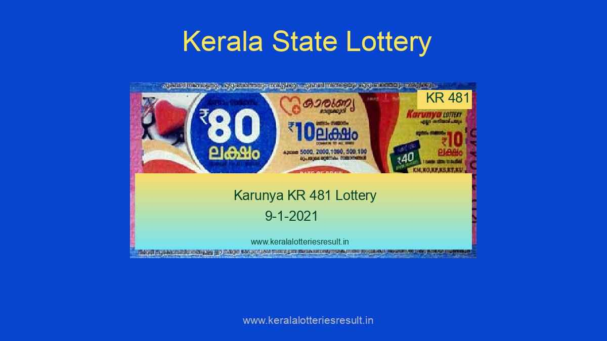 Karunya KR 481 Lottery Result 9-1-2021 Live @ 3PM
