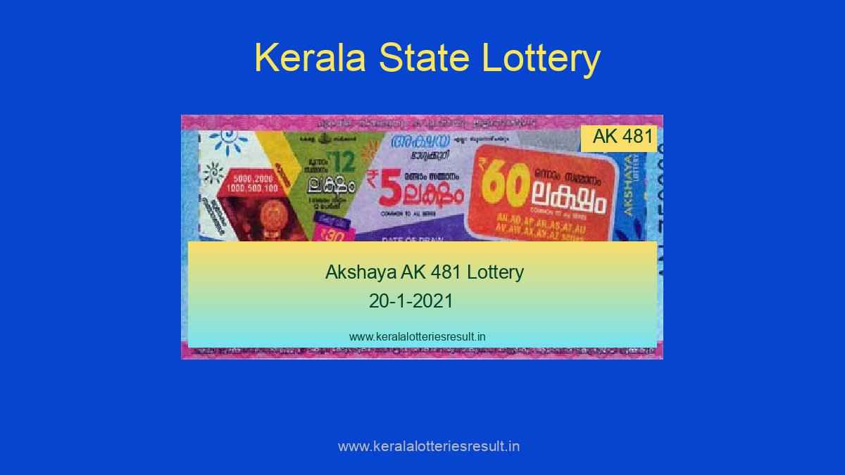 {Live} Kerala Lottery Result 20.1.2021 - Akshaya AK 481 Result Live @ 3 PM