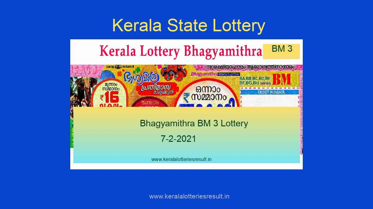 Bhagyamithra Monthly Lottery BM 3 Result 7.2.2021 (Live)