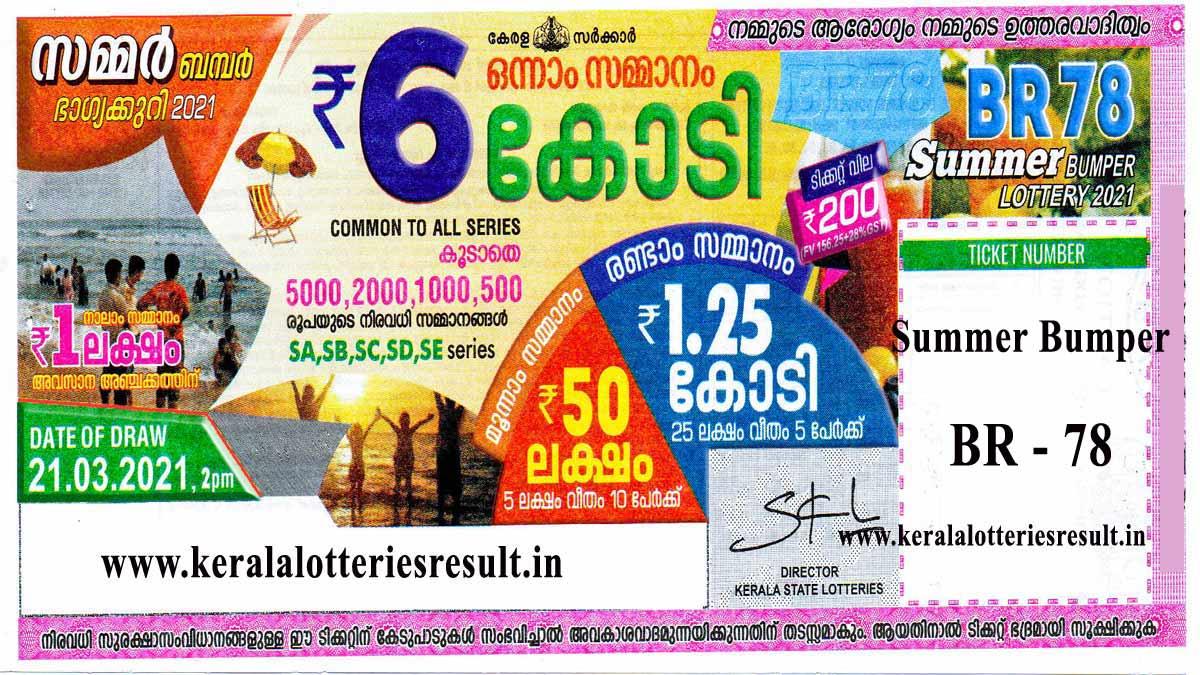Kerala Summer Bumper BR -78 Result 2021