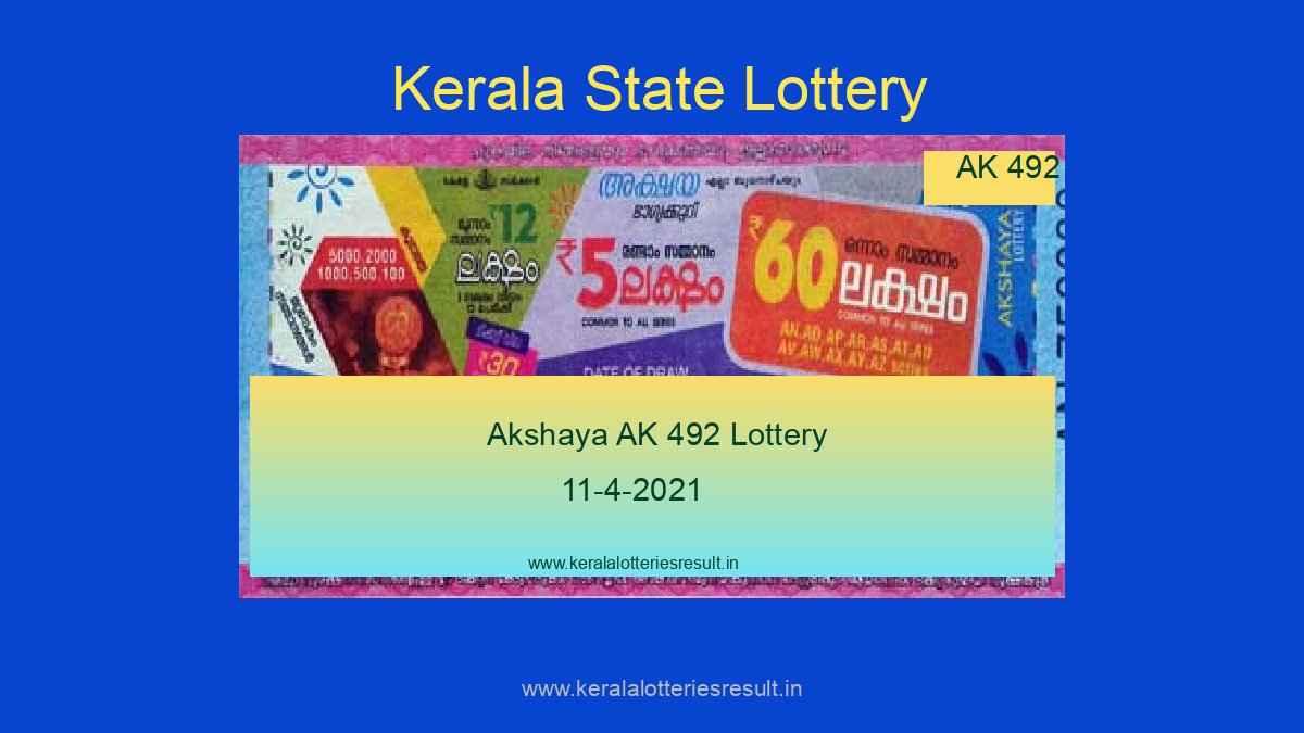 Akshaya Lottery AK 492 - Kerala Lottery Result 11.4.2021