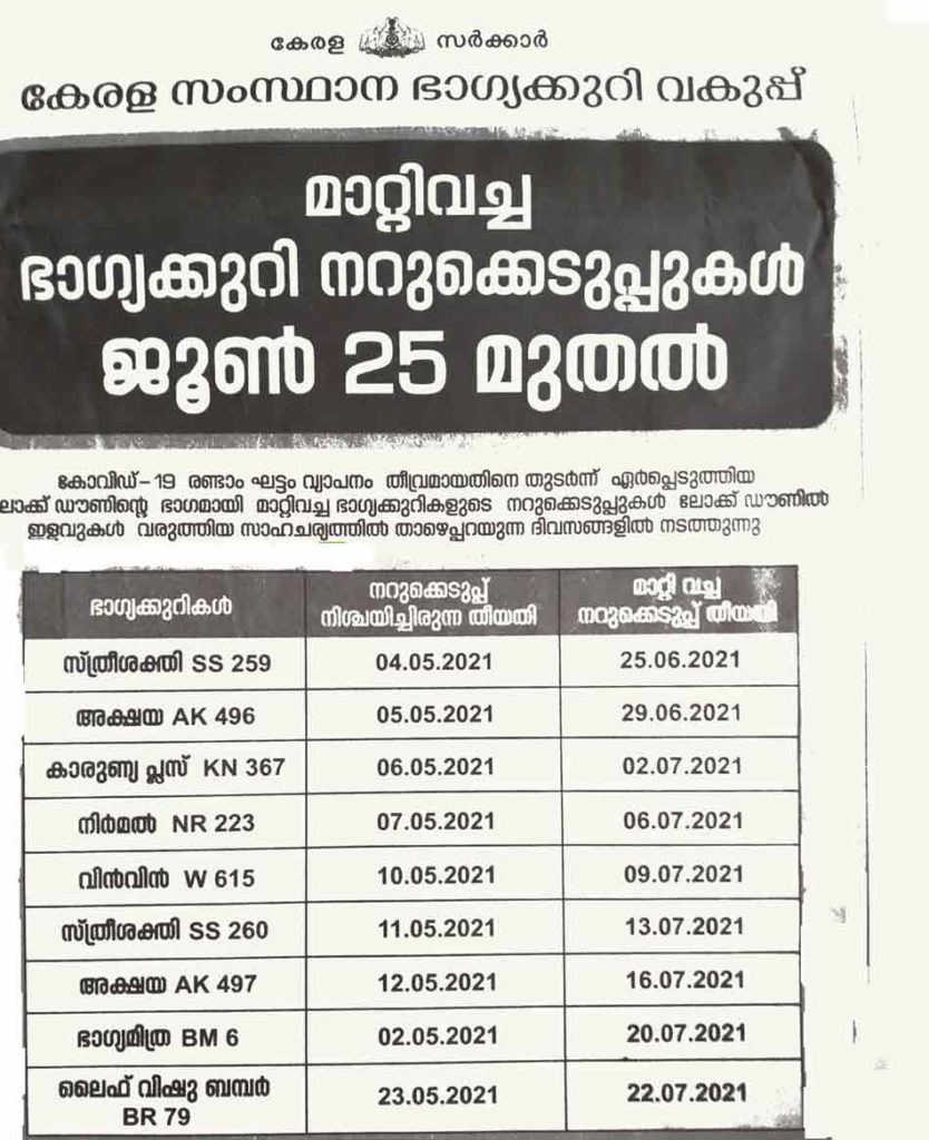 Kerala Lottery Result - New Draw Dates June-July 2021