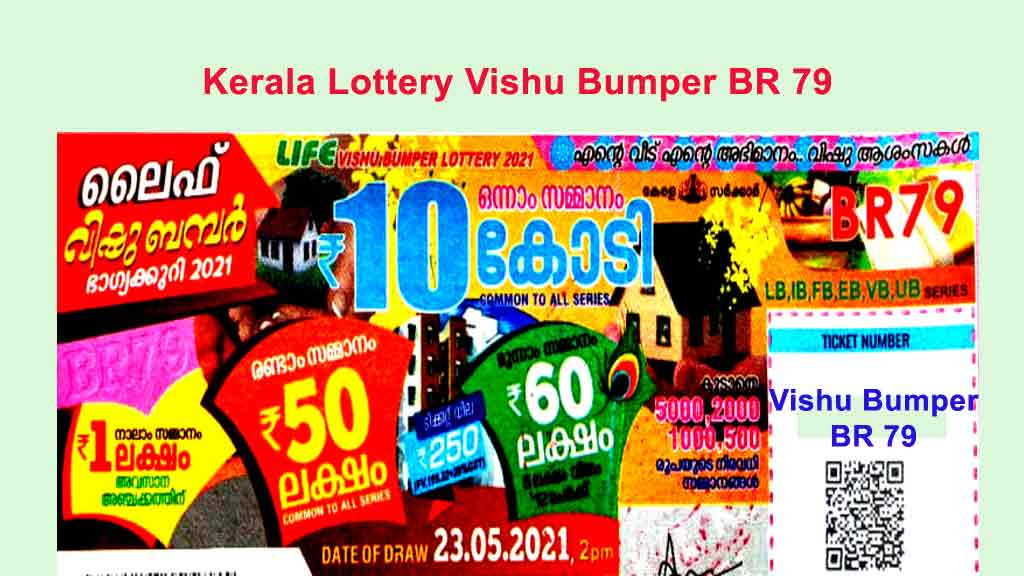 Kerala Vishu Bumper Lottery BR 79 Result - Kerala Bumper Lottery 22.7.2021
