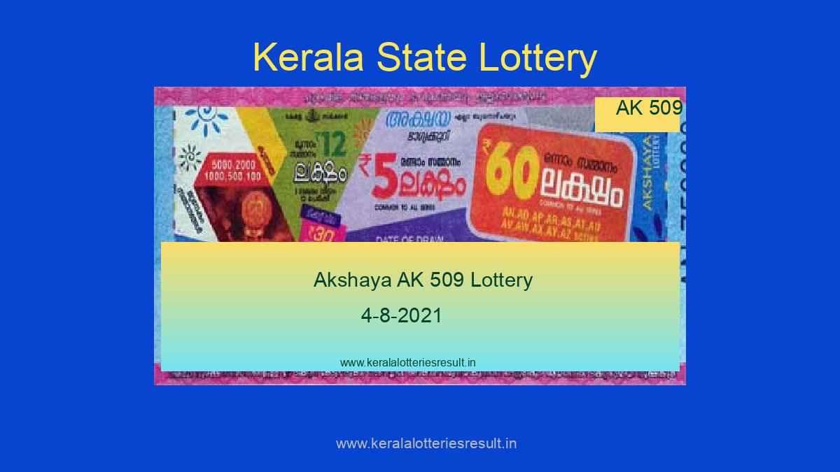Akshaya Lottery AK 509 Result 4.8.2021 (*Live Result Kerala Lottery)