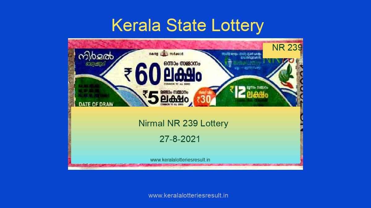 Nirmal Lottery NR 239 Result 27.8.2021 (Live Result Kerala Lottery)