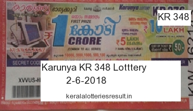 Kerala Lottery: Karunya Lottery KR 348 Result 2.6.2018 Today