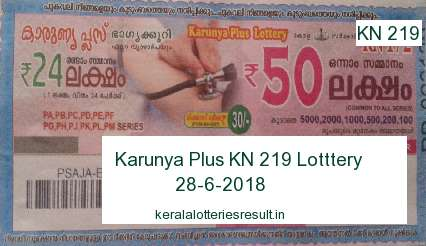 Kerala Lottery: Karunya Plus KN 219 Lottery Result 28.6.2018