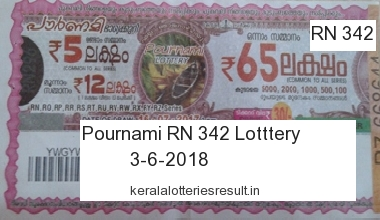 Kerala Lottery: Pournami Lottery RN 342 Result 3.6.2018 Today