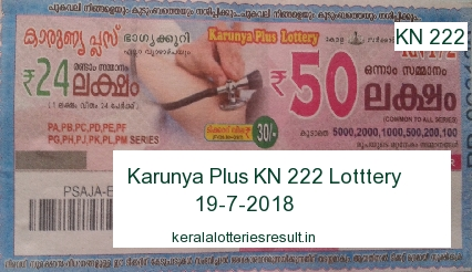 Kerala Lottery: Karunya Plus KN 222 Lottery Result 19.7.2018