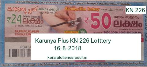 Kerala Lottery: Karunya Plus KN 226 Lottery Result 16.8.2018