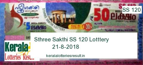 Kerala Lottery: Sthree Sakthi SS 120 Lottery Result 21.8.2018 (new date: 28.8.2018)