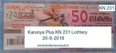 Kerala Lottery: Karunya Plus KN 231 Lottery Result 20.9.2018