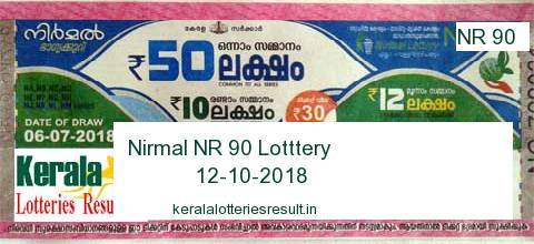 Nirmal Lottery NR 90 Result 12 10 2018|Kerala Lottery Result