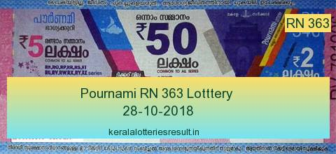 Kerala Lottery: Pournami Lottery RN 363 Result 28.10.2018
