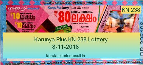 Kerala Lottery: Karunya Plus Lottery KN 238 Result 8.11.2018